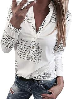 Moonuy Femmes Col en V Impression de Lettres Bouton Manche Longue T-Shirt Tops Blouse Chemisier Femmes Shirt Couleur Unie Blouse Tops T-Shirt Manche Longue Tunique Casual Chemise Sweat-Shirt Chemise T-Shirt Pullover