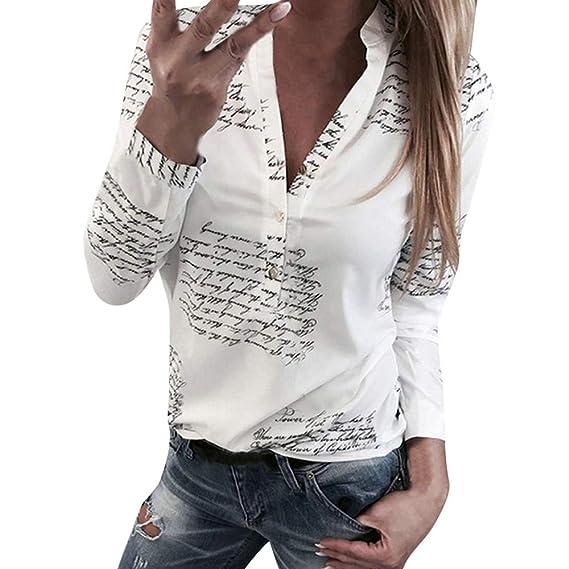Blusas Mujer Primavera 2019 Fossen Botones De Mujer con Cuello En V BotóN  De ImpresióN Camiseta De Manga Larga Tops Camisa  Amazon.es  Ropa y  accesorios 5a1b8c00fca14
