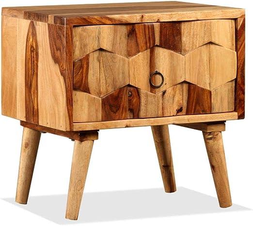 Xingshuoonline Mueble de Noche con 1 cajón Madera Maciza de Sheesham 40 x 30 x 40 cm (L x l x h) mortaja como Armario de Auxiliar: Amazon.es: Jardín