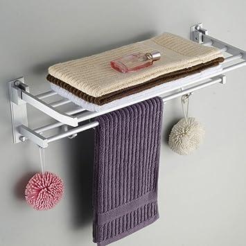 wall mounted towel holder double layer hotel bathroom towel rack rotation aluminum bathroom shelf amazon