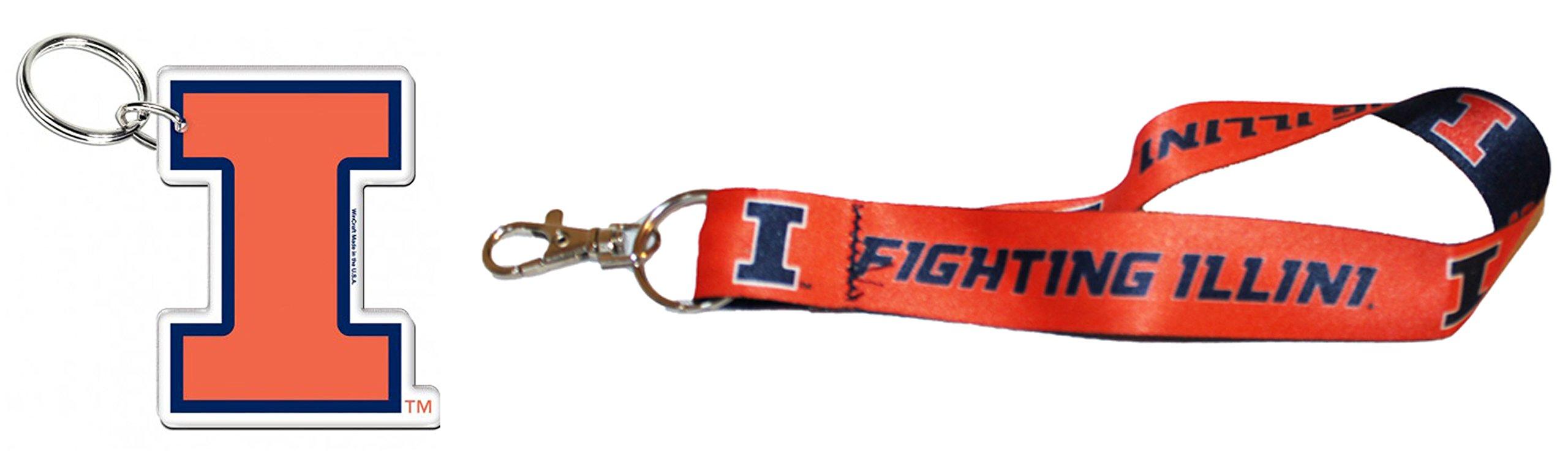 WinCraft Bundle 2 Items: University of Illinois Fighting Illini 1 Key Strap Key Chain and 1 Premium Key Ring