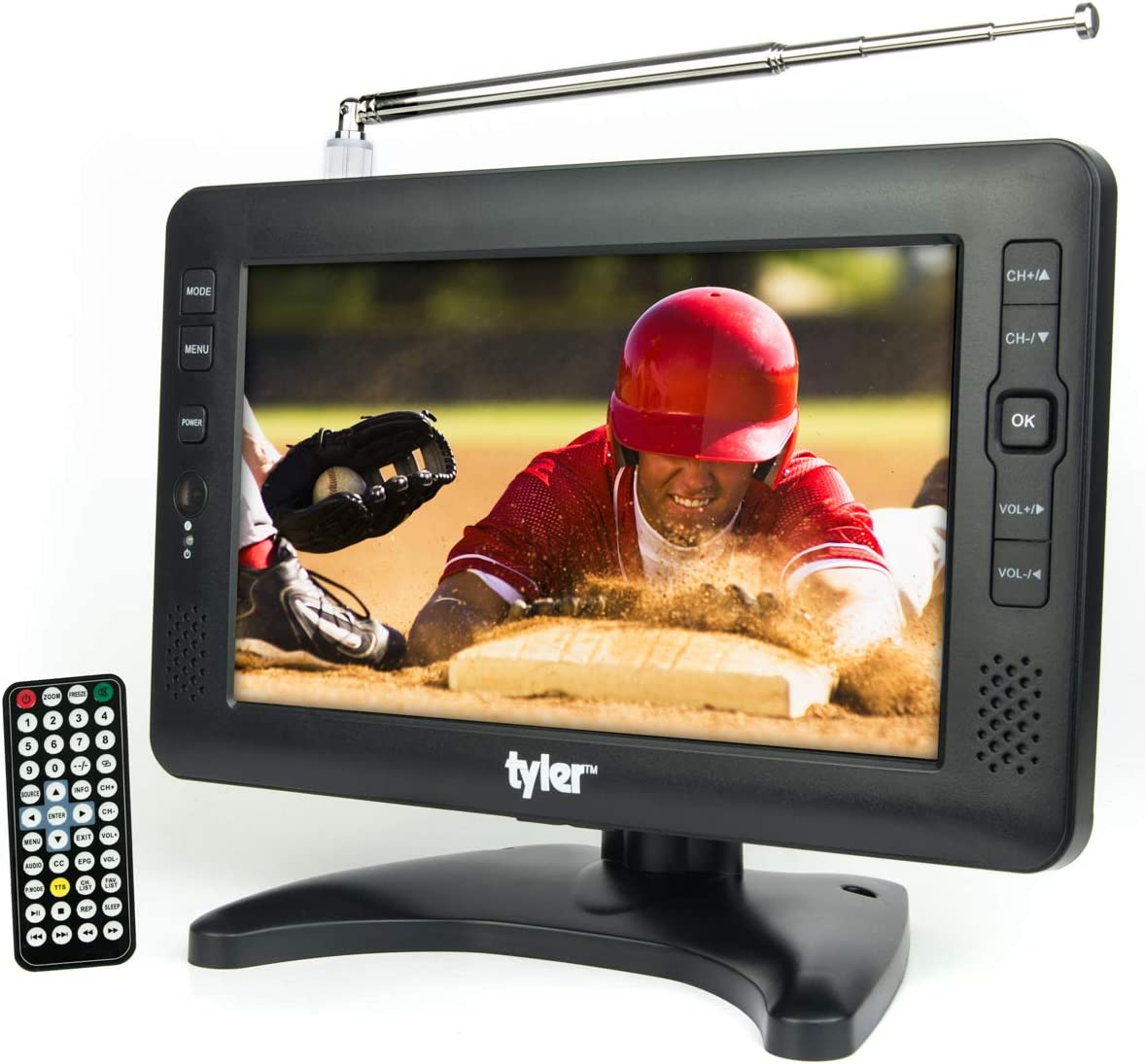 Tyler TTV704-9 Portable Rechargeable Battery Powered LCD TV - AC/DC 9-inch Television for Kitchen, Car, Camping, RV, Outdoor - USB/SD Card Slot, Built-in Digital Tuner, AV Input, Antenna Included
