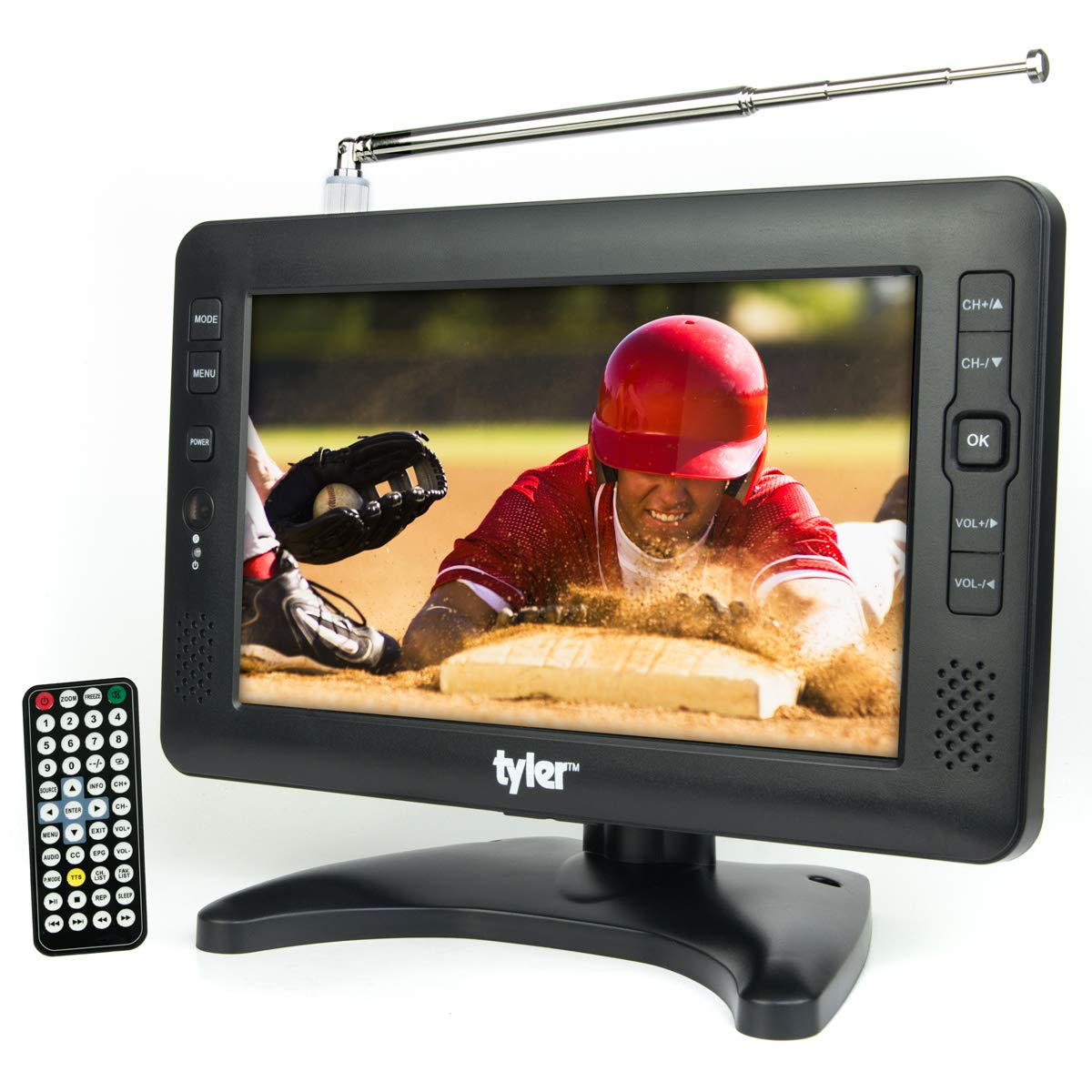 Tyler TTV704-9 Portable Widescreen LCD TV with Detachable Antennas, USB/SD Card Slot, Built in Digital Tuner, and AV Inputs