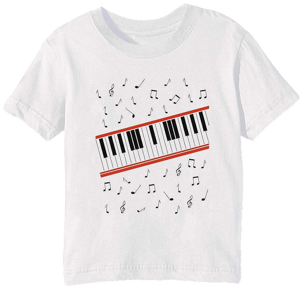 Erido Battere Esso Pianoforte Bambini Unisex Ragazzi Ragazze T-Shirt Maglietta Bianco Maniche Corte Tutti Dimensioni Sen's White T-Shirt all Sizes KMB-55408