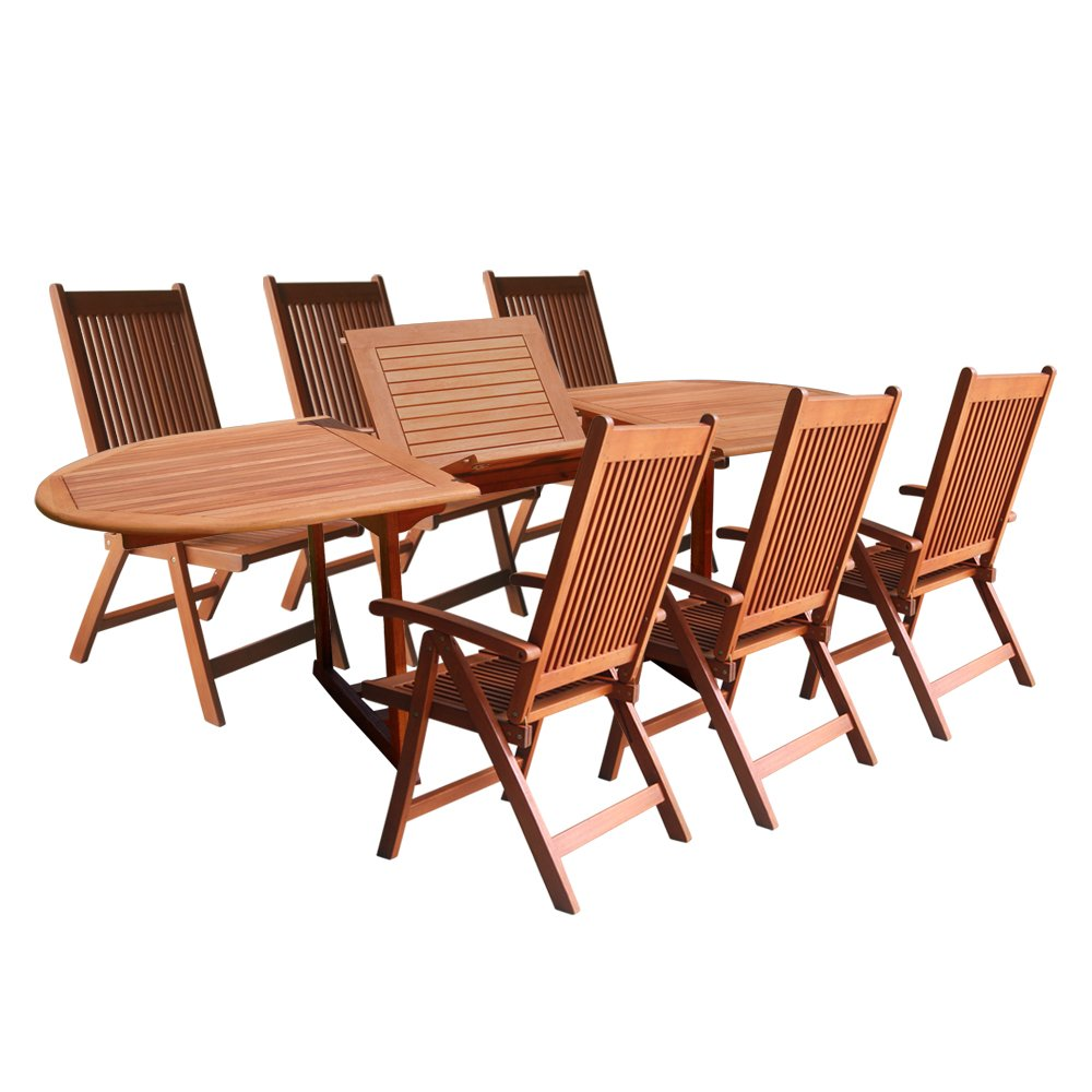 Amazon VIFAH V144SET1 Outdoor Wood 7 Piece Dining Set With Oval Extension Table Natural Finish 91 By 39 29 Inch And Patio