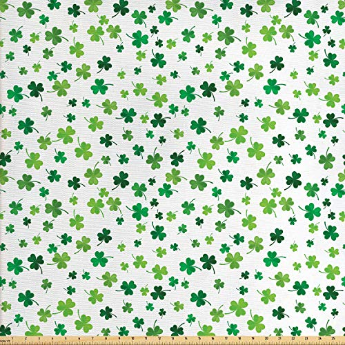 Lunarable Shamrock Fabric by The Yard, St Patrick's Day Clovers Design Motifs from Celtic Folklore Spring, Decorative Fabric for Upholstery and Home Accents, 1 Yard, Green Dark Green Sea Green
