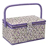 D&D Sewing Basket with Sewing Kit Accessories - Purple