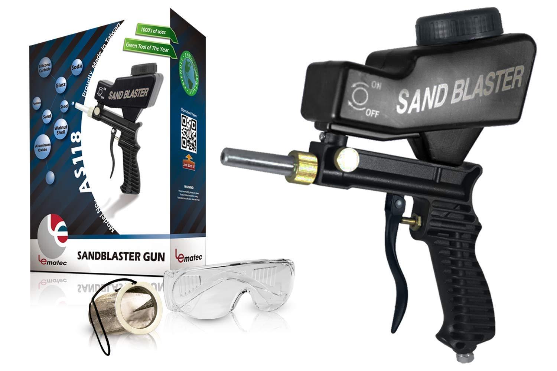 Sandblaster Portable Media Blaster, Sand Blasting Nozzle Gun, Gravity Feed Sandblast Gun, Media Blaster with Extra Tip (Black)