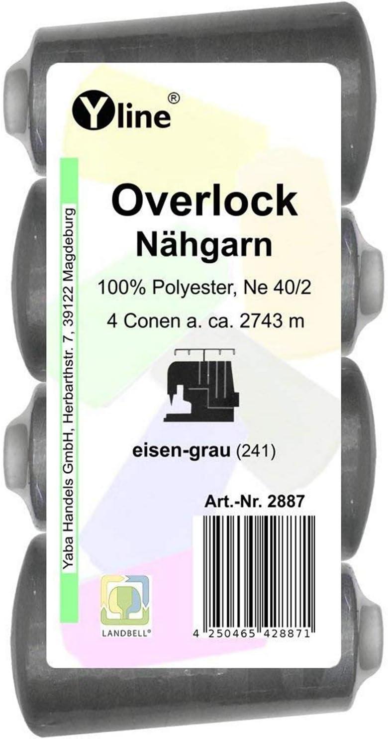 4bobinas Overlock, para hilo de coser, color gris hierro, 2743m, NE 40/2, 100 % poliéster, hilo para máquinas de coser, 2887