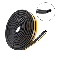 Foam Seal Strip, Getmall Self Adhesive Automotive Home Window Door Draught Rubber Excluder Soundproofing Avoidance Rubber Weatherstrip (D Type, 16.4Ft)