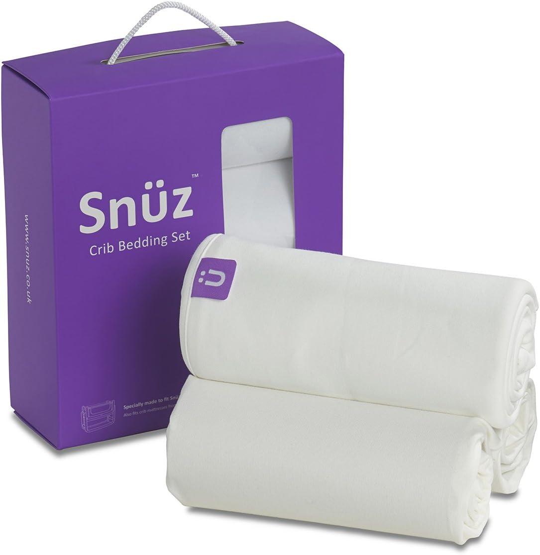 4x drap-compatible avec snuzpod chevet berceau 100/% coton-blanc//cre