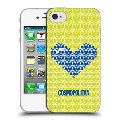 Official Cosmopolitan Blue On Yellow Pixel Heart Lovey Soft Gel Case for Apple iPhone 4 / 4S