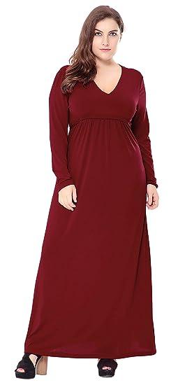 cc88671c57e La Vogue Femme Maxi Robe Longue Grande Taille Manche Longue Col V Robe  Plage Rouge XL-6XL  Amazon.fr  Vêtements et accessoires