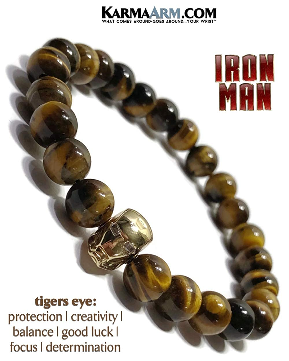 KarmaArm Iron Man Bracelet Tigers Eye Yoga Reiki Healing Energy Boho Beaded Meditation Stretch Mens Womens Jewelry Superhero Comic-Con Cosplay Bracelets Avengers Bracelet