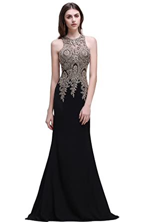 7f80686923f Amazon.com  MisShow Lace Applique Long Mermaid Evening Prom Dresses ...
