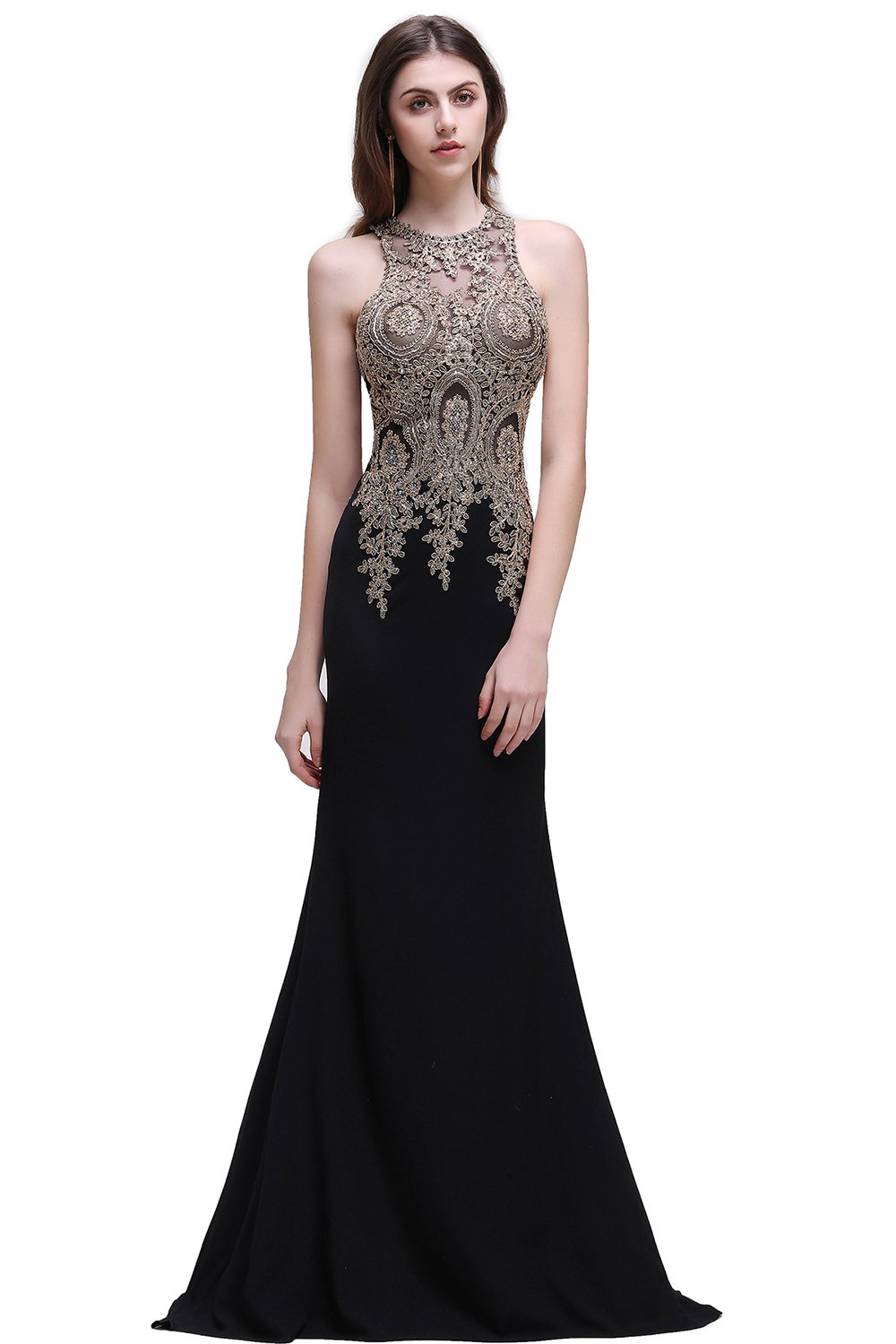 Crystals Applique Mermaid Sheer Top Evening Dress Formal Prom Gown