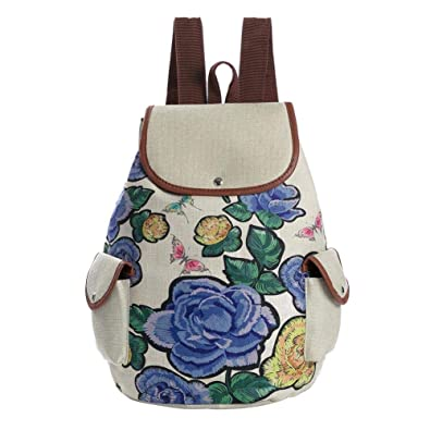 762f5647c0 Tuankay Girls Preppy Backpack Flower Print Bags Travel Rucksack School Bag  (Blue)