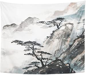 Emvency Tapestry Print 50x60 Inches Pink Japanese Chinese Landscape Painting China Ink Mountain Tree Garden Brush Wall Hangings Home Decor