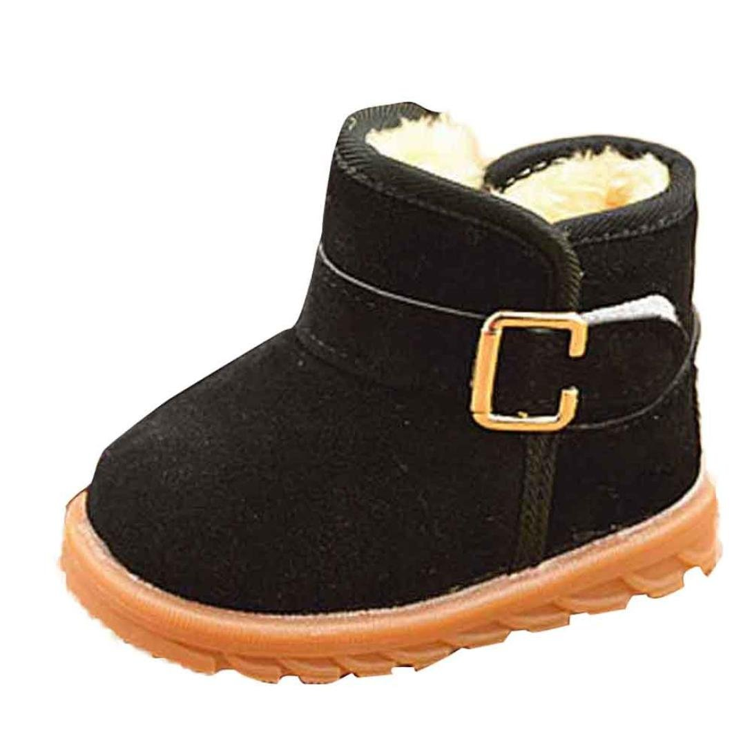 Internet Baby Boys Girls Snow Boot Warm Winter Ankle Boots (Length:13CM, Black) Internet_8810