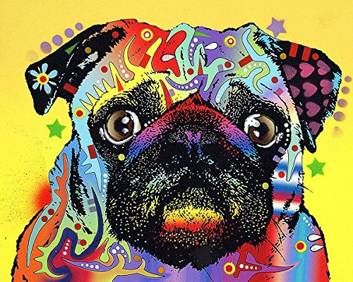 Pug Dean Russo Animal Dog Contemporary Poster Choose Size of Print or Canvas