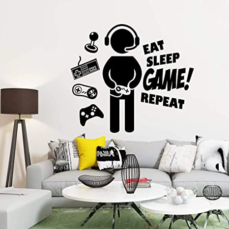 Gamer Wall Decal Wall Decals Gamers Video Game Game Decor Gamer Wall Stickers Wall Decal Gaming Eat Sleep Play Gamer Wall Decor