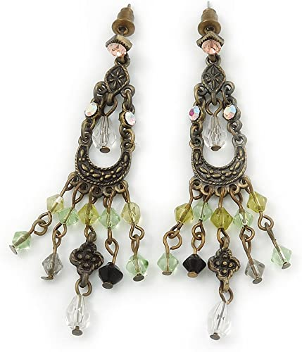 Rhinestone Chandelier Earrings in Olive Green Neo Victorian Style