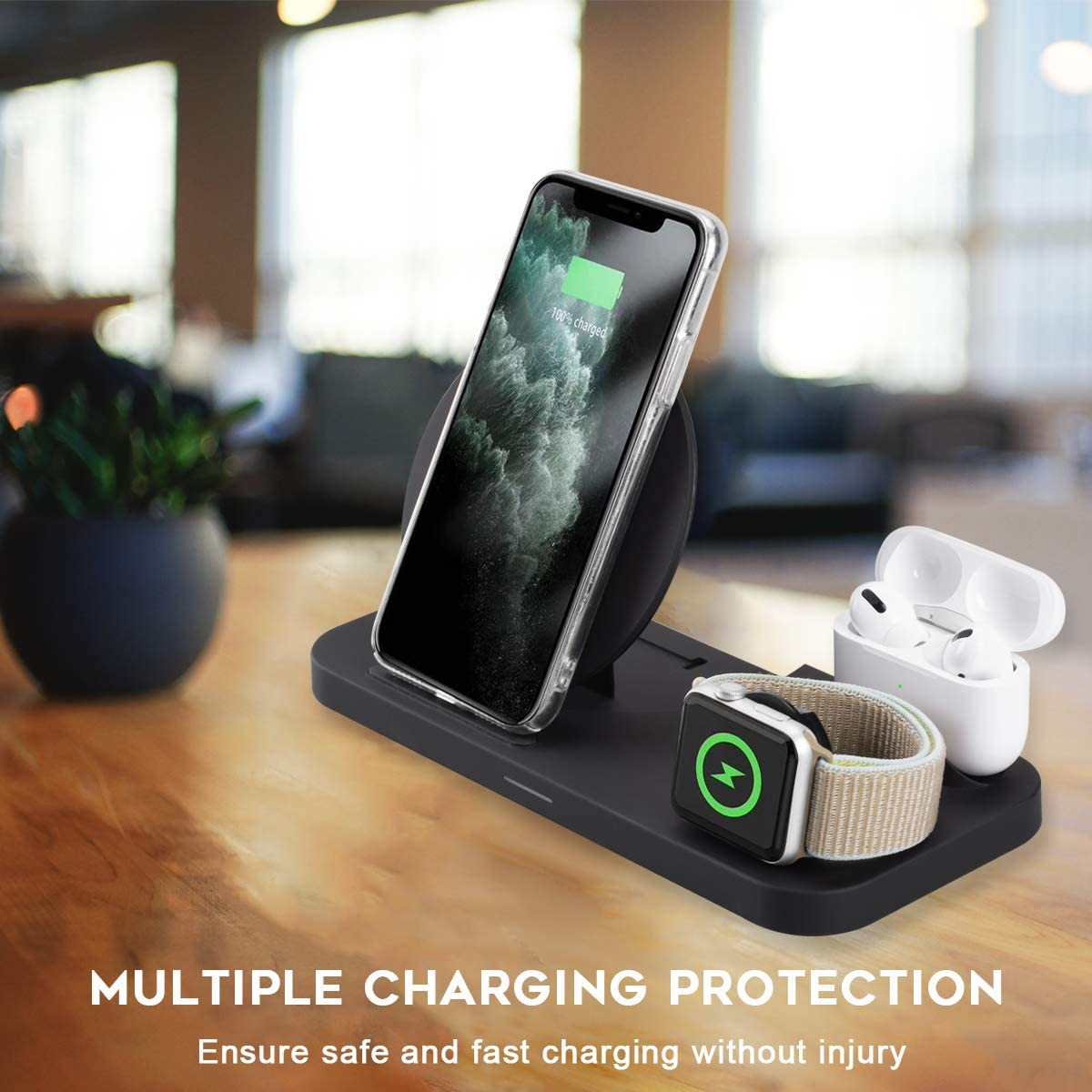 iWatch Series 5//4//3//2//1 Airpods 1//2 NEWZEROL Station De Chargeur sans Fil De Certification QI Pliable 3 en 1 Compatible pour iPhone 11//11 Pro Max//XS Max//XS//XR//X 8//8 Plus Pro
