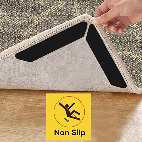 Rug Gripper, Best 8 pcs Anti Curling Rug Grippers, Keeps Your Rug in Place & Makes Corners Flat (Large(7