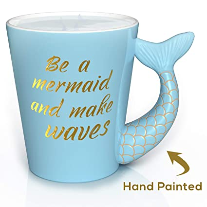Mermaid Mug - Unique Hand Painted Novelty 3D Blue Teal Mermaid Tail Ceramic  Coffee Mugs Gifts  Beautiful gold painted handle with
