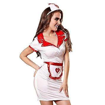 OLLOLCCY Traje de Enfermera de Traje de Enfermera para Mujer ...