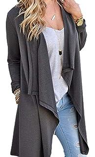 89a1f9a155942 BOLAWOO Femme Cardigan Longues Casual Printemps Automne Manches Longues  Veste en Tricot Elégante Mode Chic Large