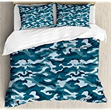 Camo Duvet Cover Set by Ambesonne, Military Theme Camouflage in Oceanic Colors Sea Water Inspired, 3 Piece Bedding Set with Pillow Shams, Queen / Full, Dark Blue Slate Blue Baby Blue