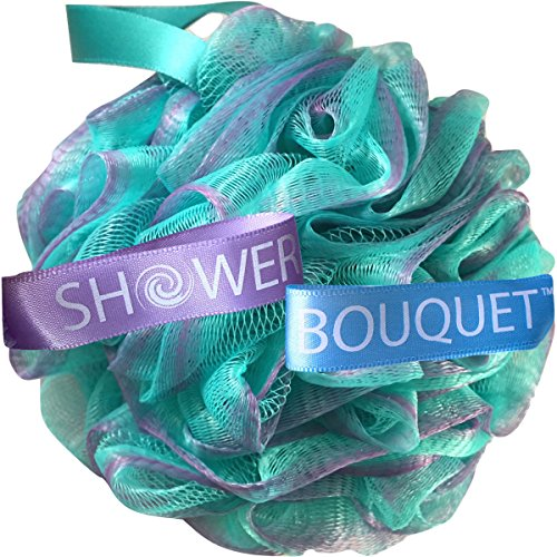 Loofah Bath Sponge Swirl Set XL 75g by Shower Bouquet: Extra Large Mesh Pouf (4 Pack Color Swirls)...