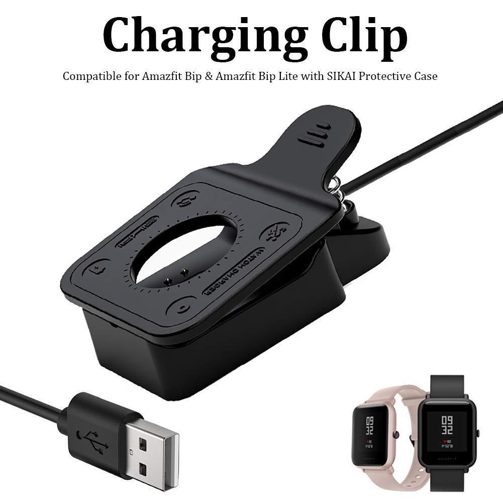 SIKAI CASE - No Necesita En Movimiento SIKAI Protectora Caso - Clip Cargador Compatible con Amazfit Bip/Amazfit Bip Lite Smartwatch Cable de Carga USB ...