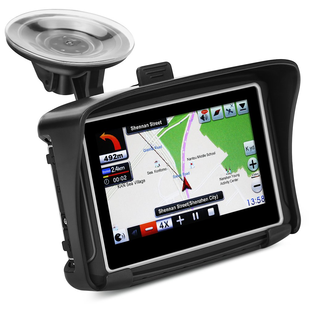 Koolertron 4.3Inch All Terrain Waterproof Motorcycle GPS Navigation System with Latest Version V.912S (Black)