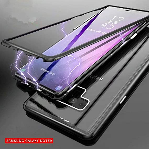 best loved 2727b 14fb7 Galaxy Note 9 Case Slim Fit Ultra-Thin [Magnetic Adsorption] [Aviation  Aluminum Alloy Metal Bumper Frame] [9H Clear Tempered Glass Back] for  Samsung ...