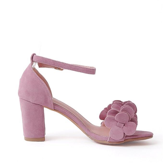 SKY-Maria Femmes Été Grande Taille Des Sandales Mode Talons Hauts Cheville Fleurs Pompes Fond Épais Chaussures TAILLE 34-45,Pink,42
