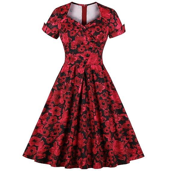 CLOOM Sexy Vinatge Falda Plisada Impresión de Floral Vestido de ...