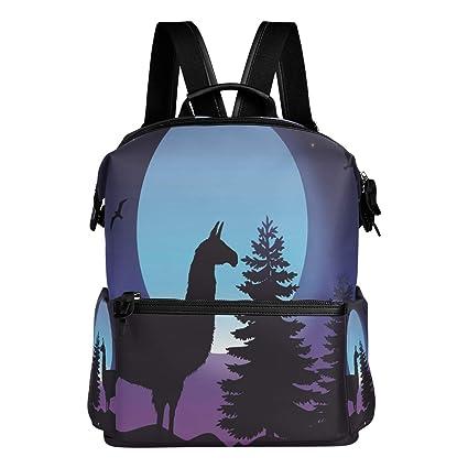TIZORAX Moon Forest Llama Silhouette - Mochila Escolar, Mochilas universitarias, Bolsas de día para