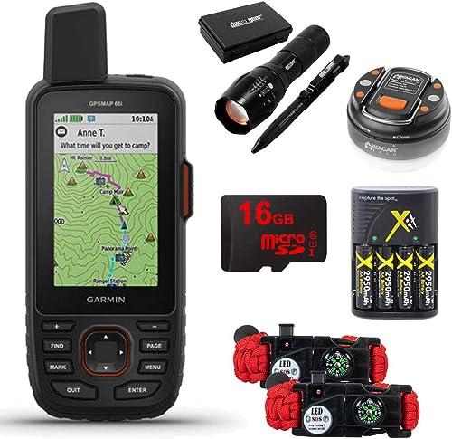 Garmin GPSMAP 66i GPS Handheld and Satellite Comm. Survival Kit Bundle – 010-02088-01