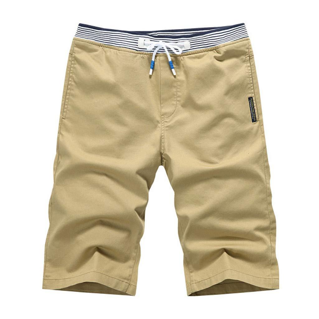 OrchidAmor 2019 Men's Boys Summer Fashion Casual Solid Swag Loose Comfort Sports Beach Happy Vacation Shorts Pants Khaki