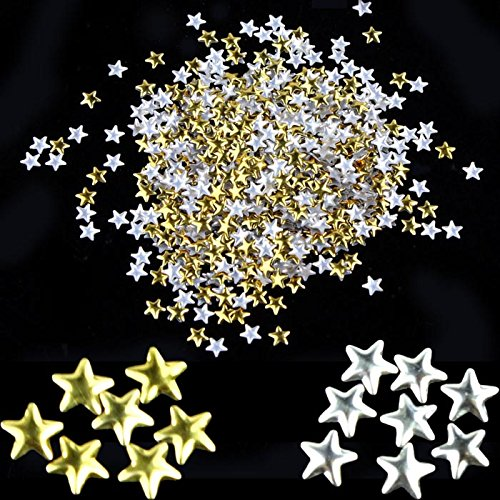 - Makalon Nail Art 250 Pieces Gold Silver 5mm Star Metal Studs for Nails Phone
