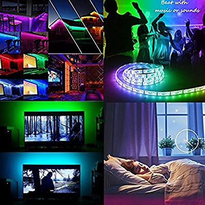 Neraon LED Strip Lights Kit, 12V DC Flexible RGB LED Light Strip, 16.4ft (5M) 300 LEDs SMD 5050 Waterproof LED Tapes with Multi-color 44Key IR Remote Controller for Indoor Kitchen Bedroom Party