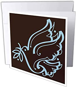 3dRose Sweet Dove of Peace Brown and Blue - Greeting Cards, 6 x 6 inches, set of 12 (gc_20589_2)