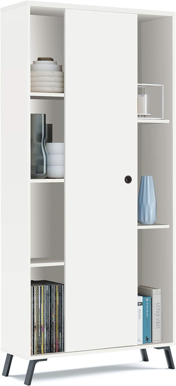 Pitarch Librería estantería Blanca kamet 1 Puerta corredera Comedor Estilo Moderno Mueble salón 180x80x30 cm: Amazon.es: Hogar