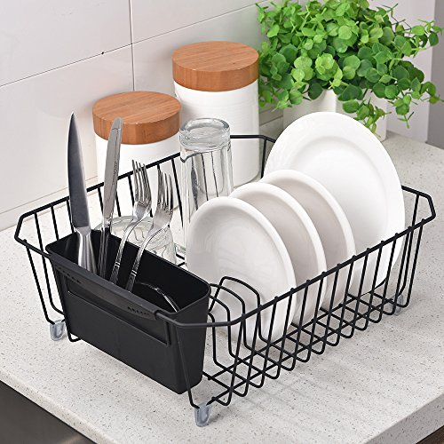 Drainer Plate (IKEBANA Commercial Steel Rust Proof Dish Drainer Drying Rack, Kitchen Dish Drainer Rack With Removable Cutlery Holder Black)