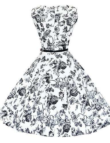 PU&PU Robe Aux femmes Gaine / Swing Vintage,Fleur Bateau Mi-long Coton , black-xl , black-xl