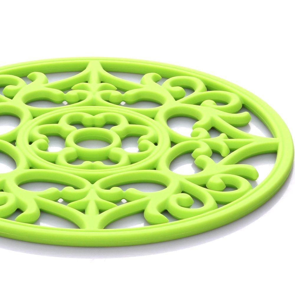 ME.FAN 3 Set Silicone Multi-Use Intricately Carved Trivet Mat - Insulated Flexible Durable Non Slip Coasters (Black) by ME.FAN (Image #5)