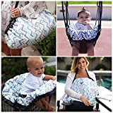 Maya & Max by Moby 6 in 1 Cover & Go: All In One Shopping Cart, High Chair, Swing + Nursing Cover for Breastfeeding, Play Mat for Tummy Time + Tote Bag - Peek - a - Blue (Peek-a-Blue)