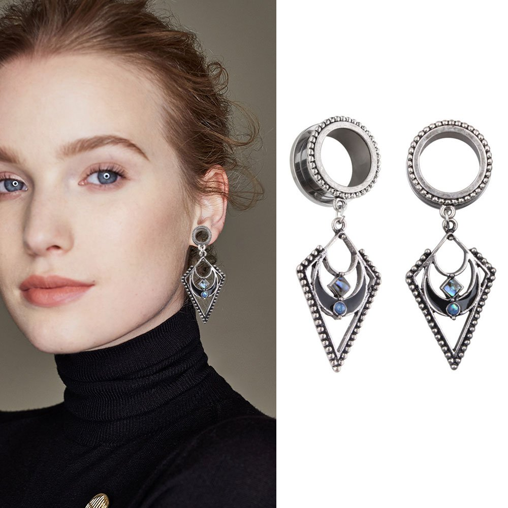 YIDULA Ear Gauges Dangle Plugs Tunnels for Ears Stretcher Expander Pendant Piercing Jewelry Opal Surgical Steel 00 Gauge (10mm)